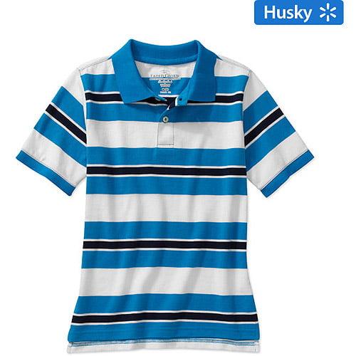 Faded Glory Husky Boys' Striped Short Sleeve Polo Shirt