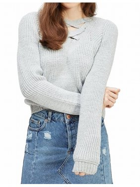 Womens Cropped Sweater Chunky Knit Lace-Up Hooded 4