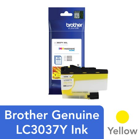 Brother Genuine LC3037Y, Single Pack Super High-yield Yellow INKvestment Tank Ink Cartridge, Page Yield Up To 1,500 Pages, LC3037 Genuine Yellow Ink Tank
