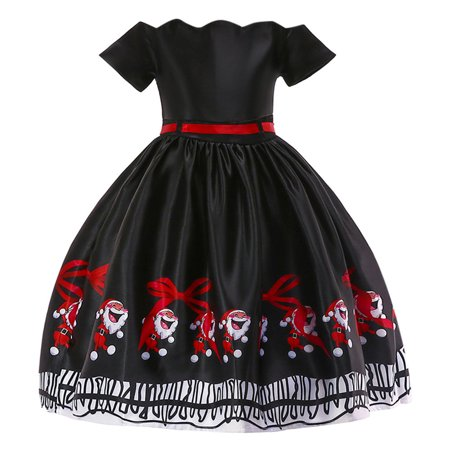 Iuhan Toddler Kids Baby Girls Santa Print Princess Dress Christmas Outfits Clothes