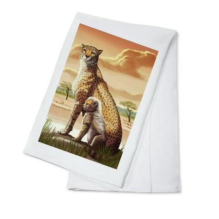 Cheetah & Cub - Lantern Press Artwork (100% Cotton Kitchen Towel) ()