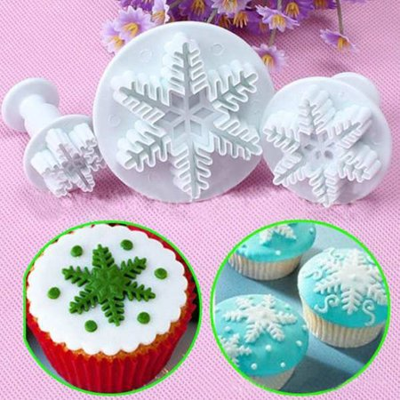 Outtop 3Pcs Snowflake Cake Decorating Fondant Plunger Cutters Mold Mould Cookies Tools - Cookie Decorating Tools