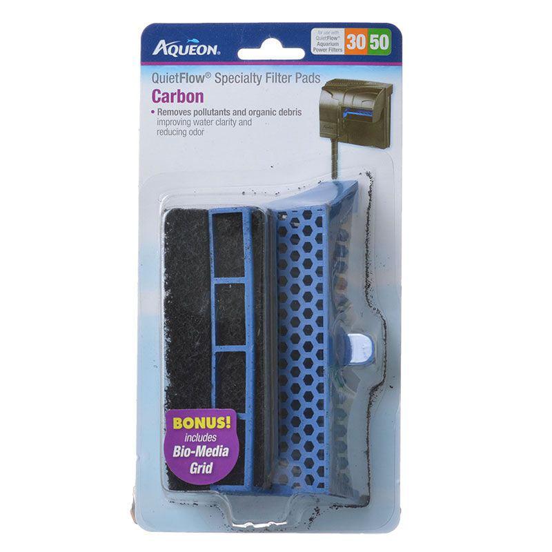 AQUEON 100106296 Quiet Flow 30//50 Specialty Filter Pad with Bio-Media Grid Carbon Cartridge