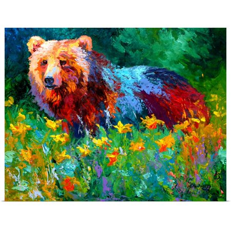 Great BIG Canvas | Rolled Marion Rose Poster Print entitled Wildflower Grizz (Wildflowers Rose)