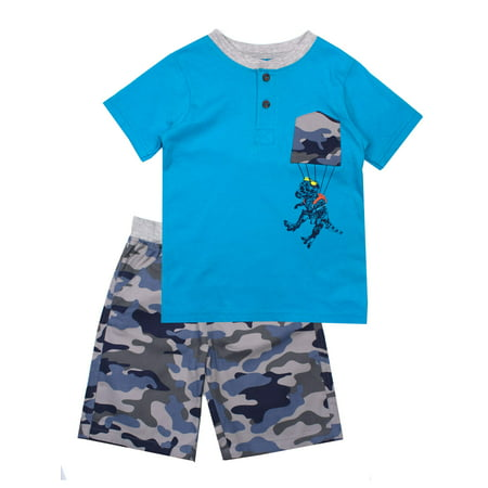 Short Sleeve Graphic Tee and Twill Pull On Shorts, 2-Piece Outfit Set (Little - Eazy E Outfit
