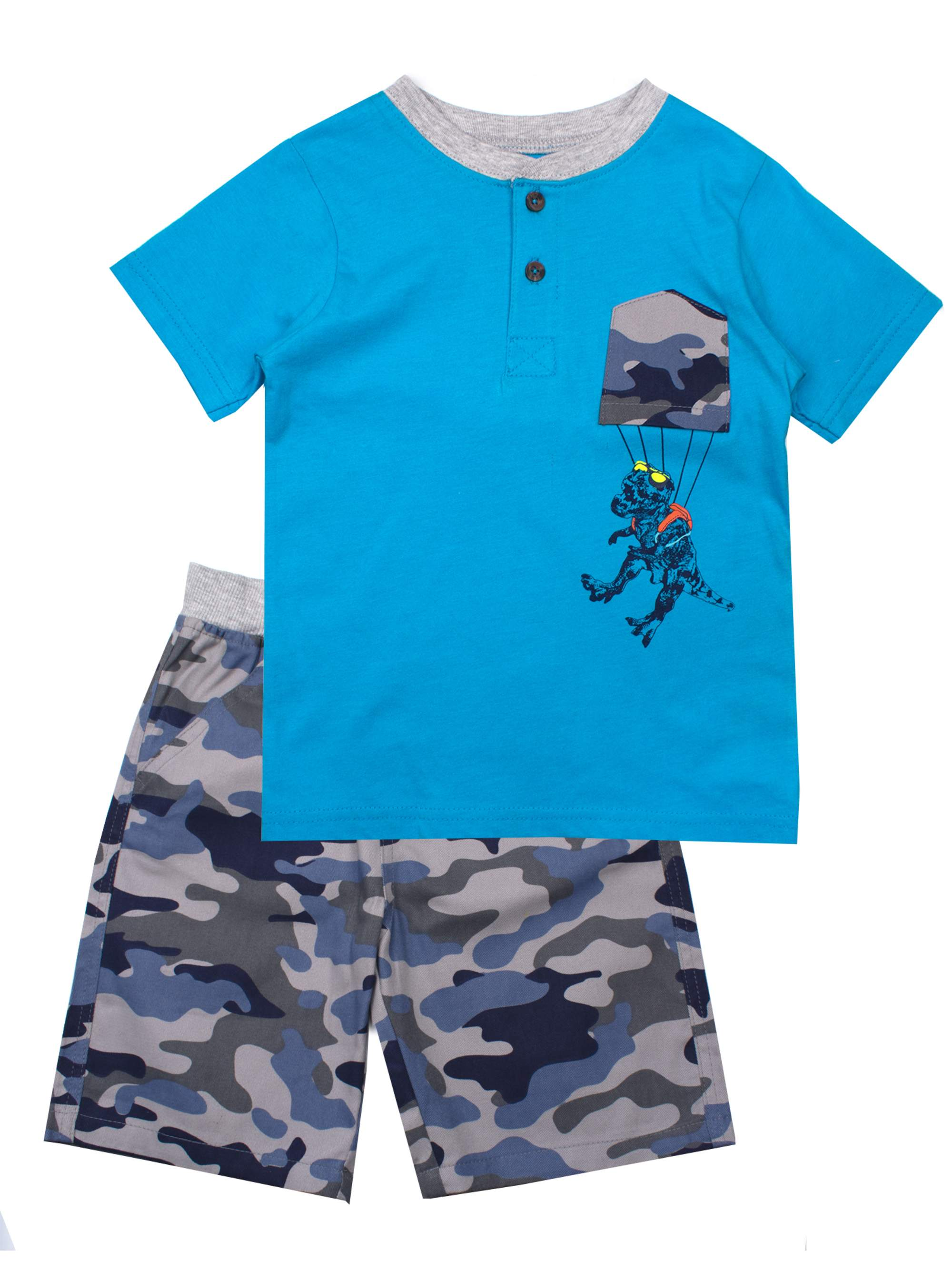 Short Sleeve Graphic Tee and Twill Pull On Shorts, 2-Piece Outfit Set (Little Boys)