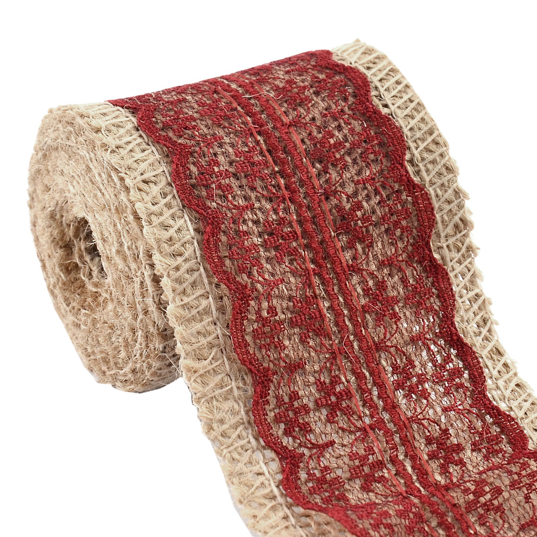 Wedding Burlap Strap Art Crafts Lace Ribbon Roll Trim Edge Burgundy 2.2 Yards