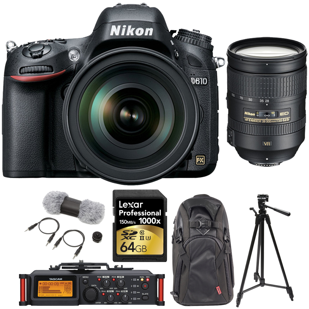 Nikon D610 FX-format 24.3 MP 1080p video DSLR Camera with 28-300mm Lens (13304) w  Tascam Portable Recorder, Accessory... by Nikon