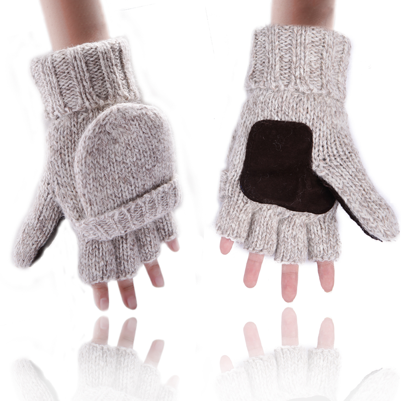 HDE Fingerless Winter Gloves Flipover Insulated Thermal Knit Texting Mittens (Gray) by Winter Gloves