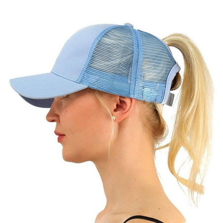 PONYTAIL BASEBALL HAT BLUE PONYCAP ADJUSTABLE TRUCKER MESSY HIGH BUN MESH CAP WOMENS PONY TAIL SLOT HAT