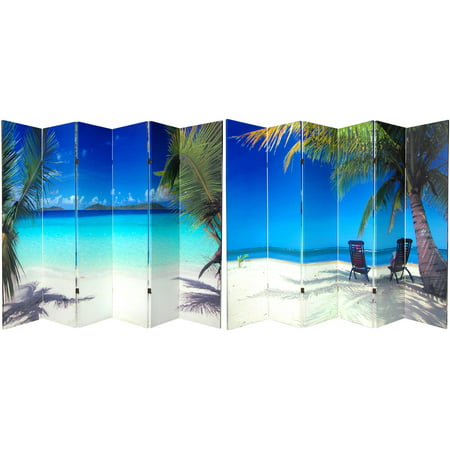 6' Tall Double Sided Beach Canvas Room Divider 6 Panel (Bench Divider)