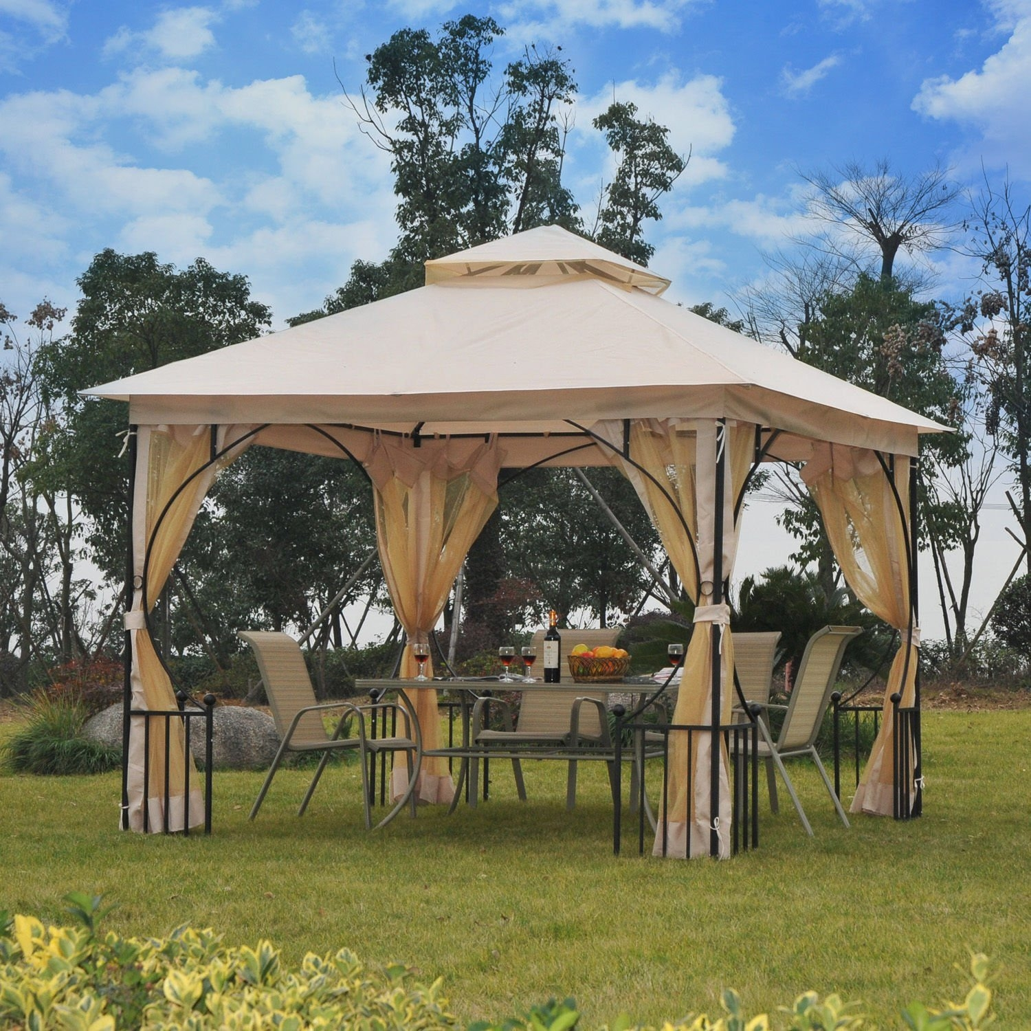 New MTN-G 10'x10' Gazebo Canopy Net Metal Outdoor Garden Patio Party
