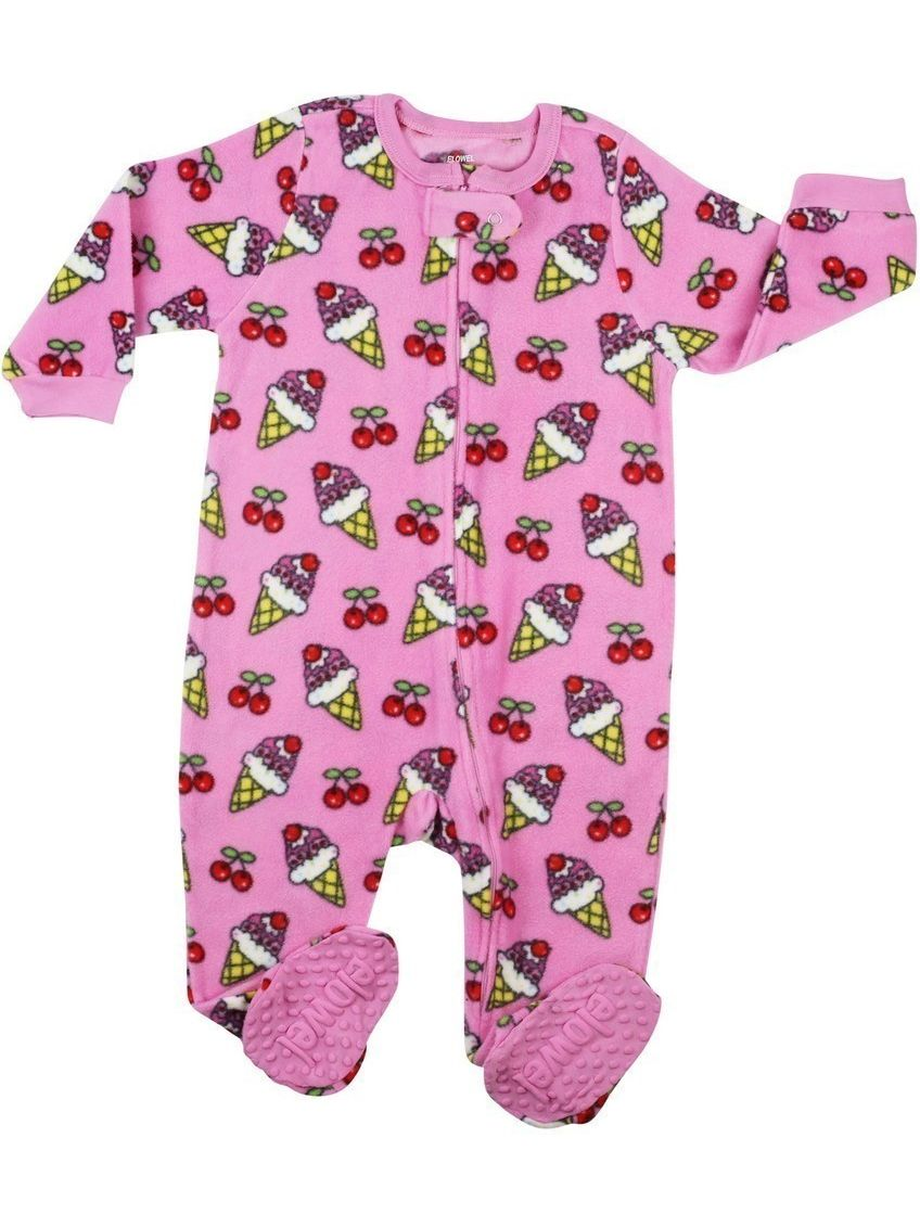 Elowel Little Girls Fuchsia Icecream Print Footed Fleece Sleeper Pajama