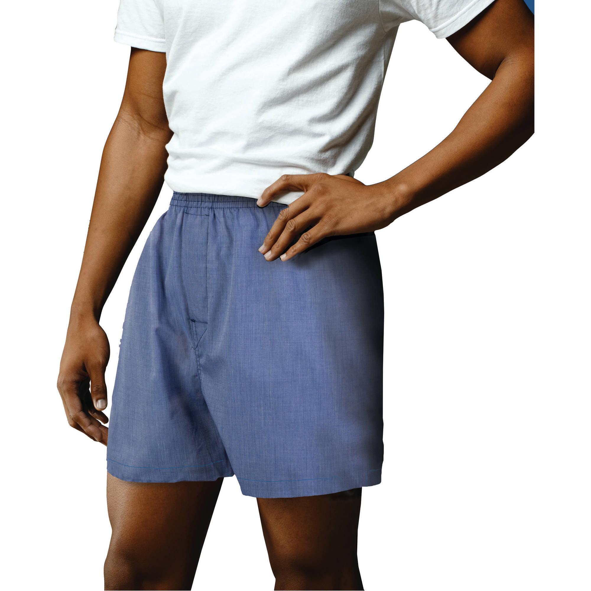 Gildan Big Men's Blue Assorted Woven Boxer Underwear, 2-Pack by