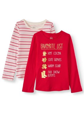 Wonder Nation Holiday Graphic and Printed Long Sleeve T-Shirts, 2-Pack (Little Girls, Big Girls & Plus)