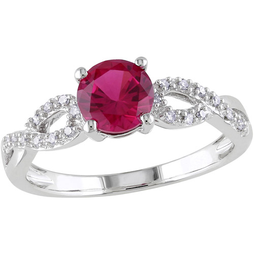 Tangelo 1 Carat T.G.W. Created Ruby and Diamond-Accent 10kt White Gold Infinity Engagement Ring by Delmar Manufacturing LLC