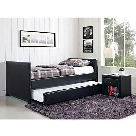 Stratus Twin Daybed And Trundle Black Faux Leather