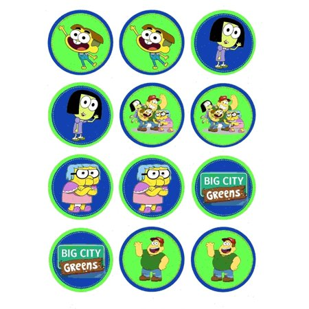 Big City Greens Family Round Cricket Tilly Bill Gramma Edible Cupcake Toppers