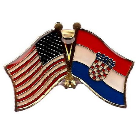 PACK of 3 Croatia & US Crossed Double Flag Lapel Pins, Croatian & American Friendship Pin (Croatia Pin)