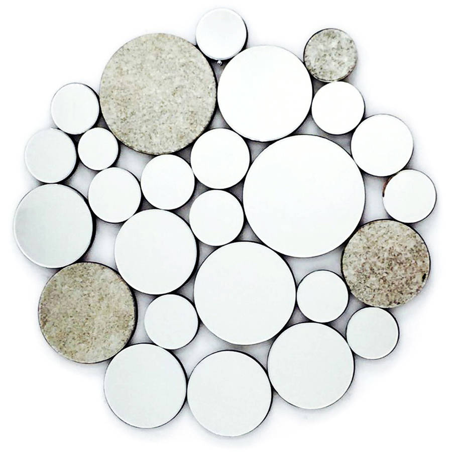 "Fab Glass and Mirror NICKLES & DIMES Ornate Round Wall Mirror Decorative Design, 39""L x 40.5""W"