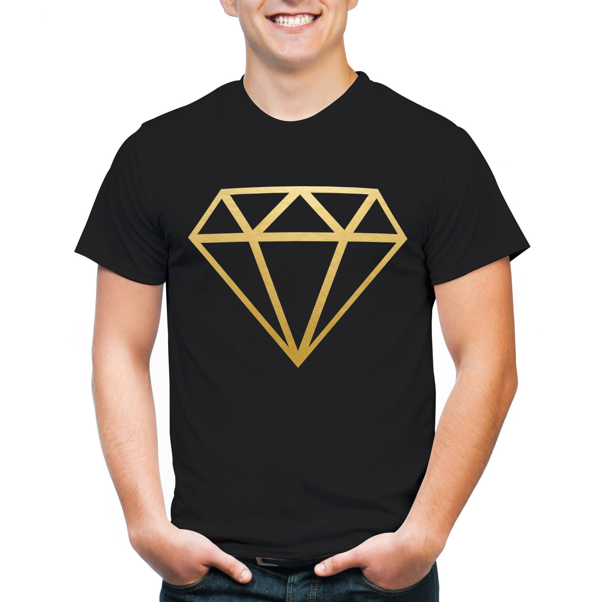 Diamond with Gold Foil Big Men's Graphic Tee, 2XL