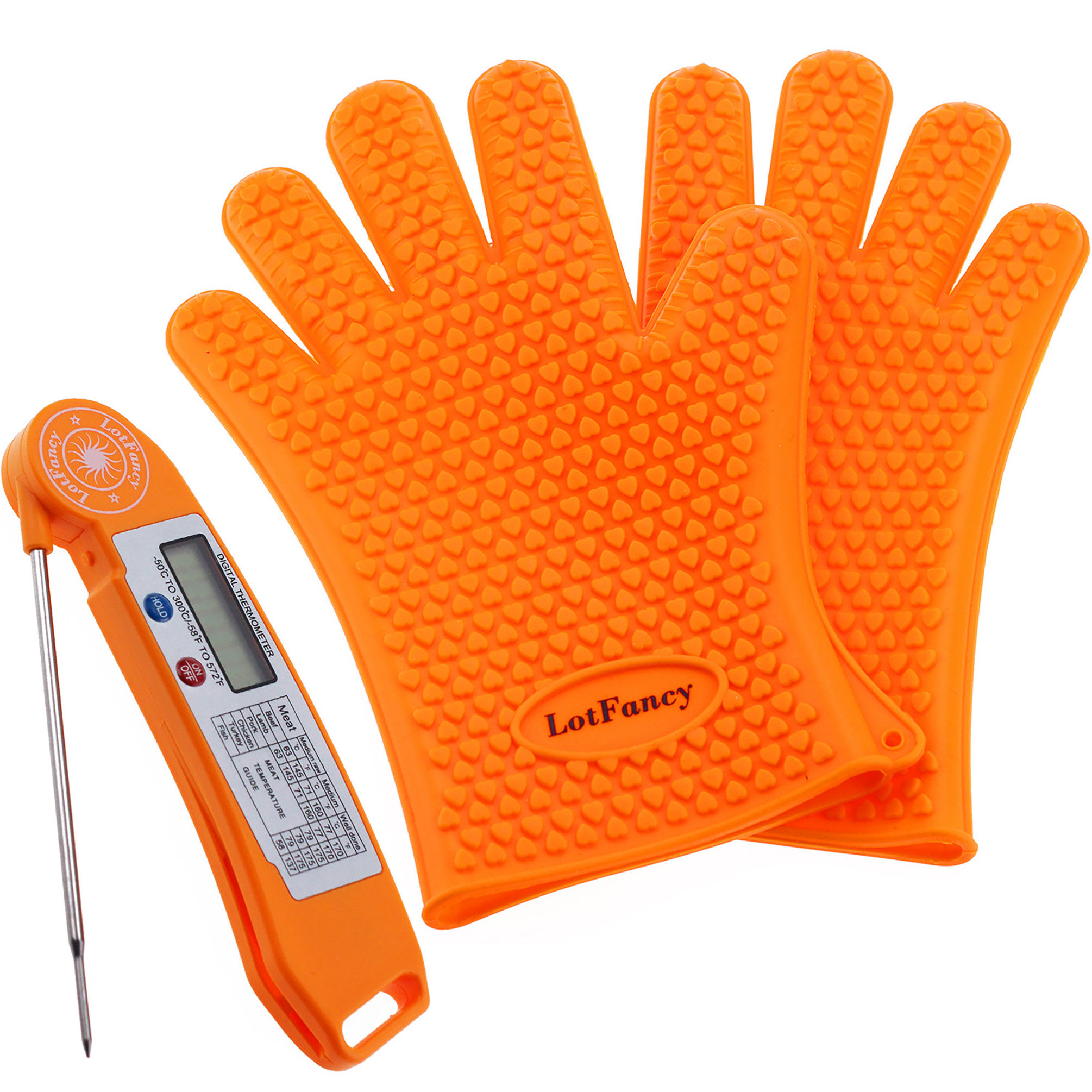 LotFancy 1 Javelin Instant Read Digital Meat Thermometer & 2 Heat Resistant Cooking Gloves for Barbecue Smoking Grilling and Oven Cooking, FDA Approved