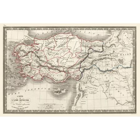 Map Of Asia Minor.International Map Turkey Asia Minor Monin 1839 34 40 X 23