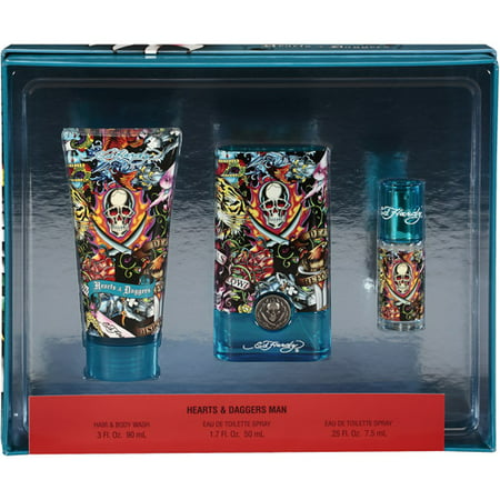 Ed Hardy Hearts & Daggers by Ed Hardy for Men - 3 Pc Gift Set 1.7oz EDT Spray,0.25oz EDT Spray,3oz Hair & Body Wash