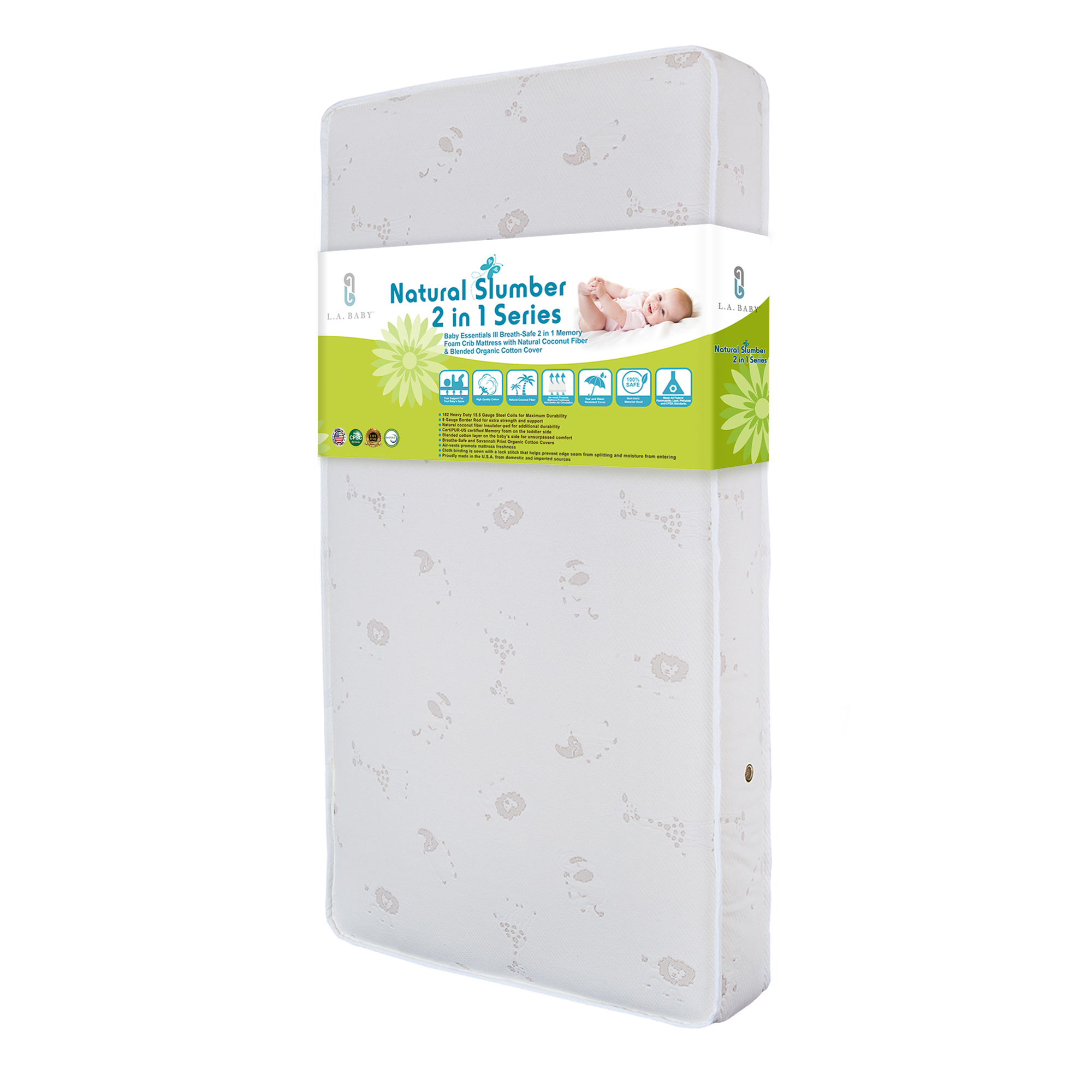 LA Baby Essentials III Breath-Safe 2 in 1 Memory Foam Crib Mattress with Natural Coconut Fiber & Blended... by Amwan