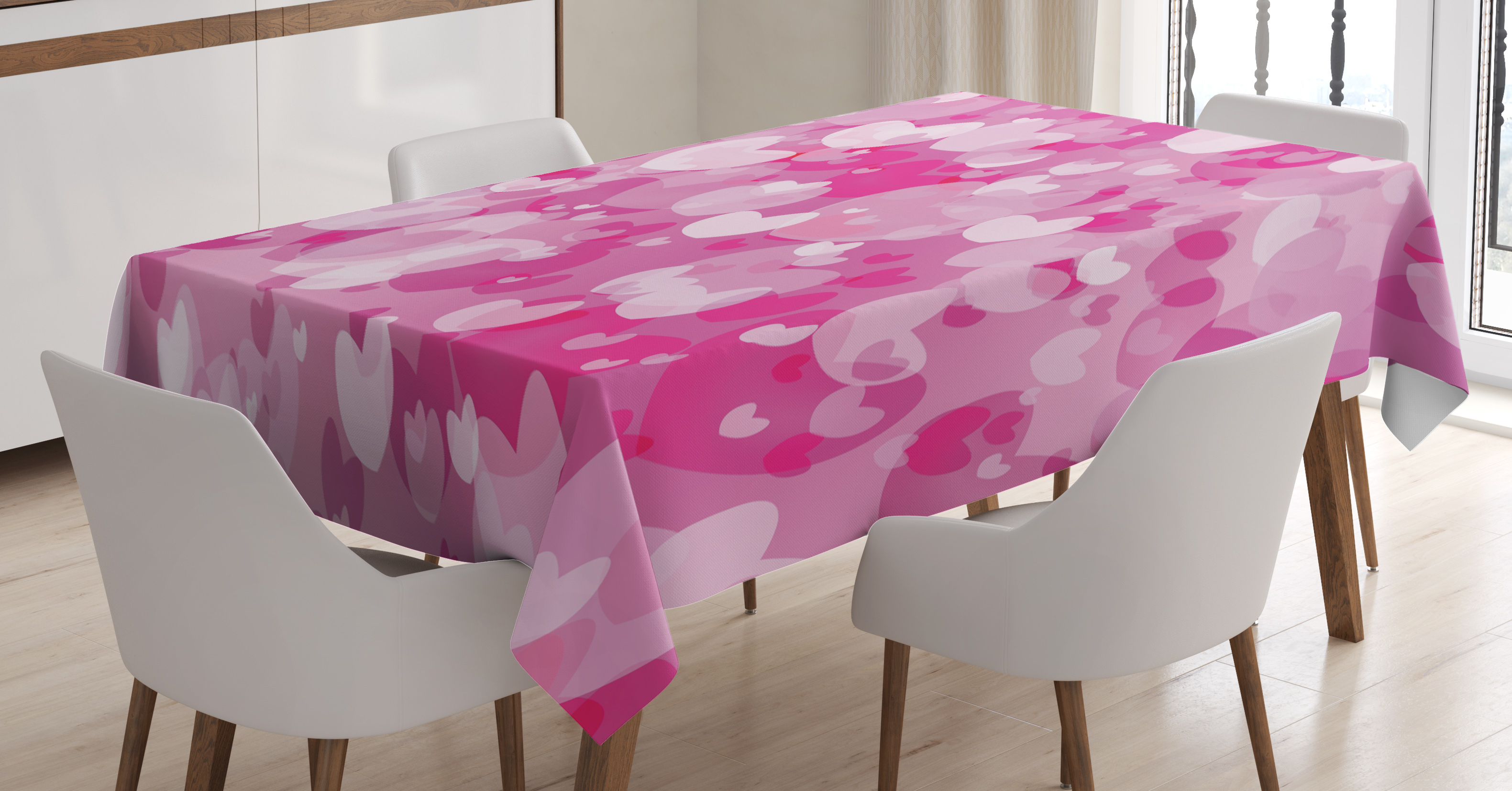 Hot Pink Tablecloth, Image Consisting Of Various Shaped Vibrant Colored  Hearts Love Valentines, Rectangular