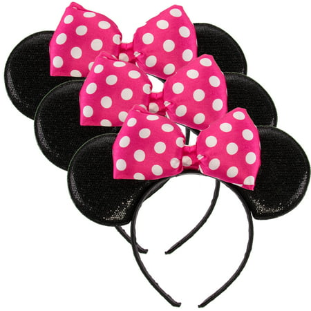 Disney Junior (3 Pack) Licensed Disney Minnie Mouse Headbands Cute Sparkle Ears Bow Costume Accessory (Pink Minnie Mouse Halloween Costume)