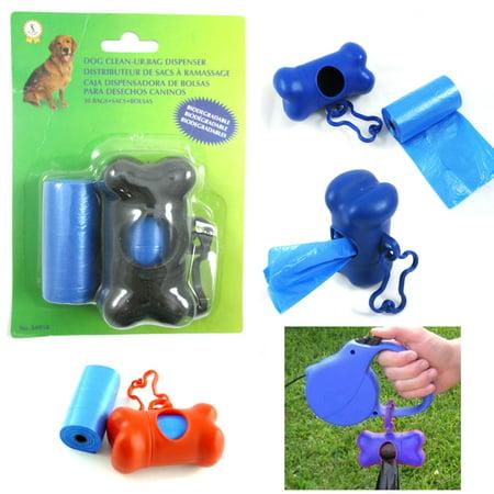 Bone Shape Waste Bag Dispenser Pet Dog Pickup Poop Clean Up Extra Refill Roll !