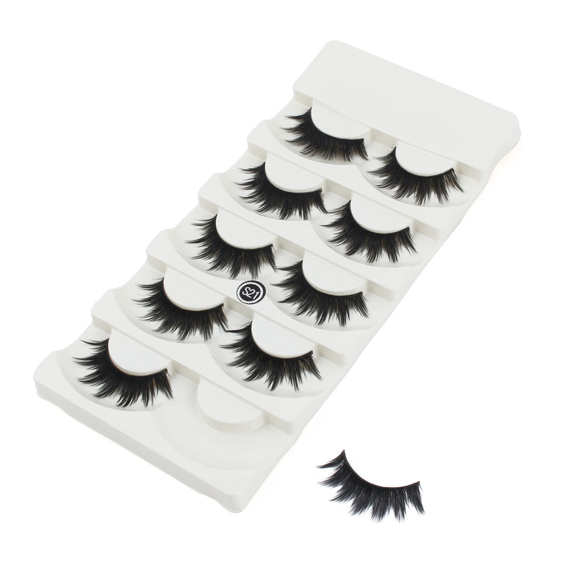 Unique Bargains5 Pairs Women Synthetic Fibers False Eyelashes Handmade Long Eye Lashes Makeup