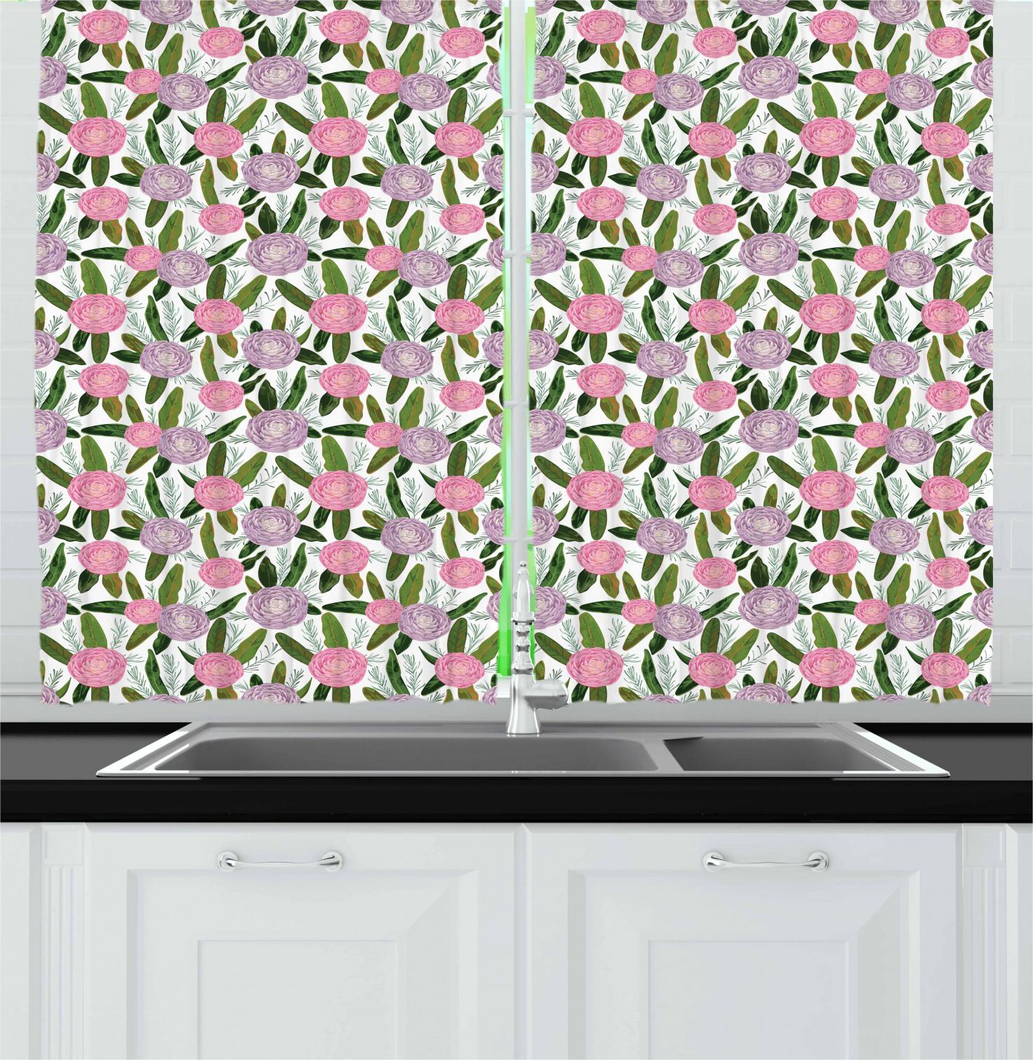Camellia Curtains 2 Panels Set, Lilac Protea And Rosemary