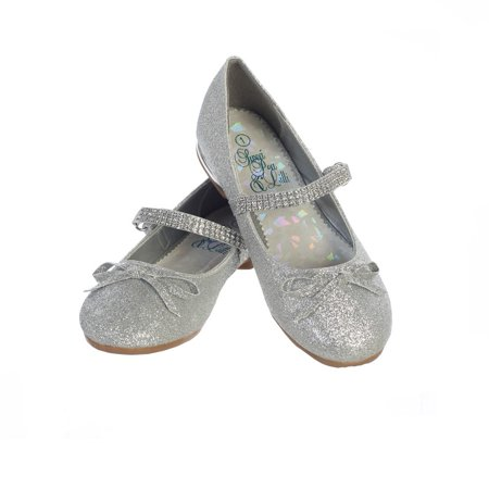 Girls Silver Glitter Rhinestone Strap Summer Dress Shoes