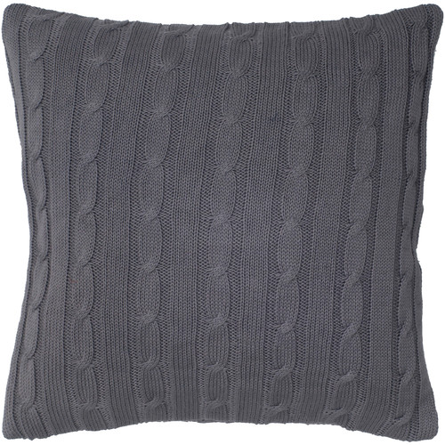 Wildon Home  Cable Knit Wooden Button Closure Throw Pillow