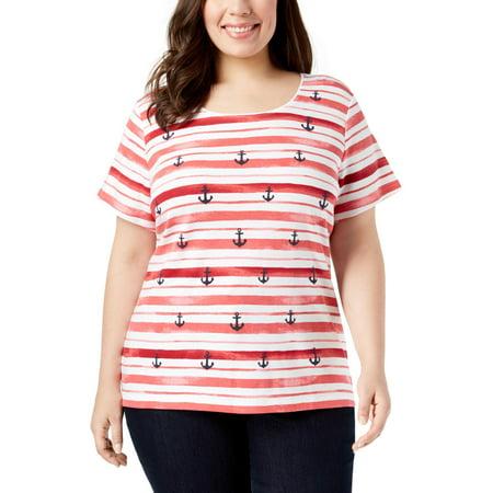 Plus Anchor (Karen Scott Womens Plus Anchor Short Sleeves Crewneck Graphic T-Shirt)