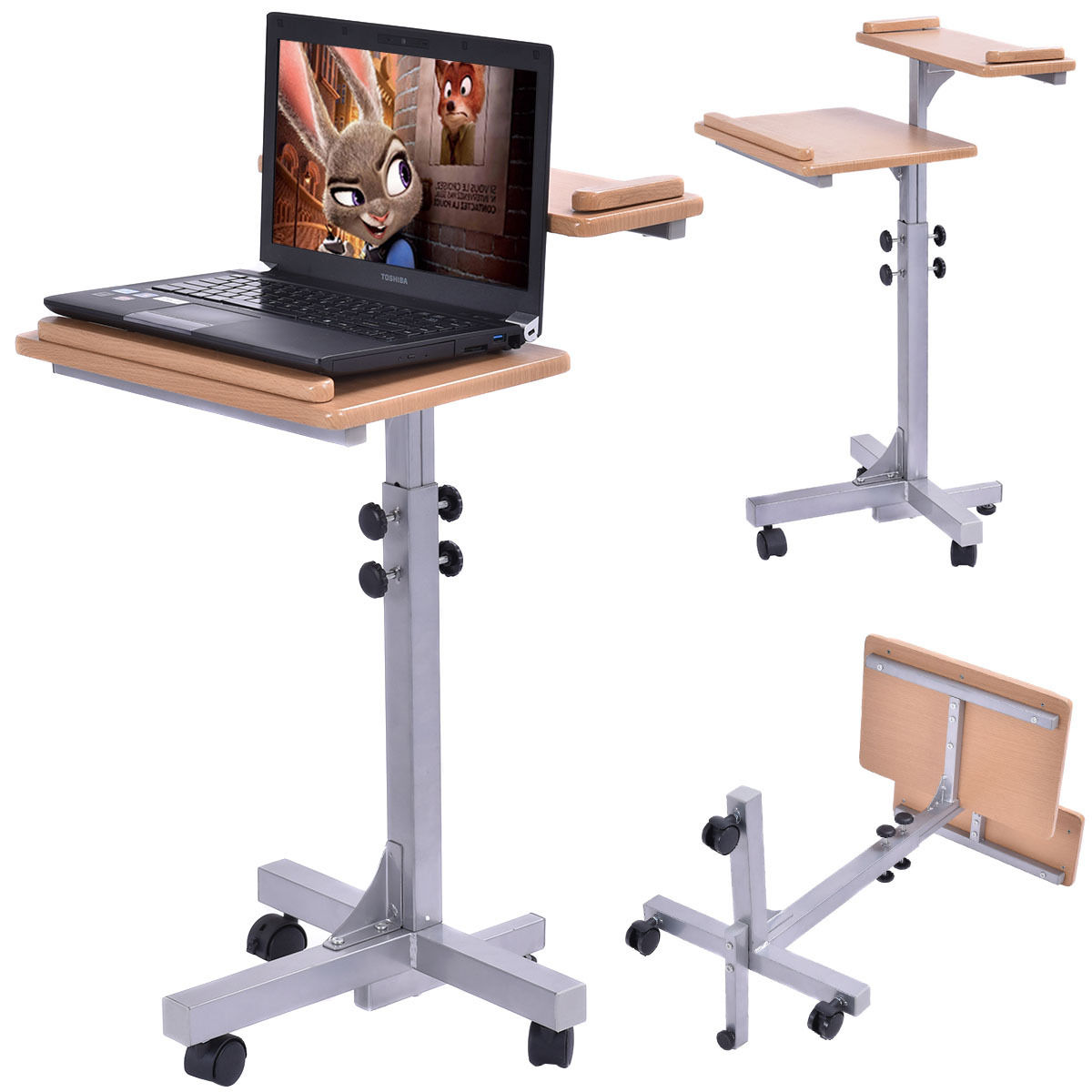 "GHP 15.7""Lx20""Wx27""-28.5""H Gray Portable Wooden Laptop Desk/Stand w 2 Locking Casters"
