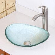 Elite  Tempered Glass Oval Artistic Silver Bathroom Vessel Sink/ Faucet Set