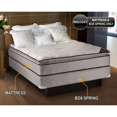 Dream Solutions Spinal Dream Soft Plush Pillow Top 12 Inch Full Mattress and Box Spring Set