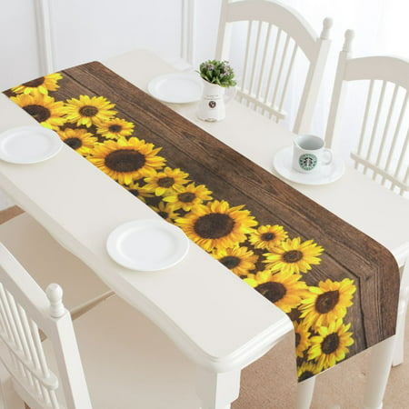 MYPOP Sunflower Wooden Table Runner Home Decor 14x72 Inch,Summer Sunflower Table Cloth Runner for Wedding Party Banquet Decoration](Sunflower Decorations)