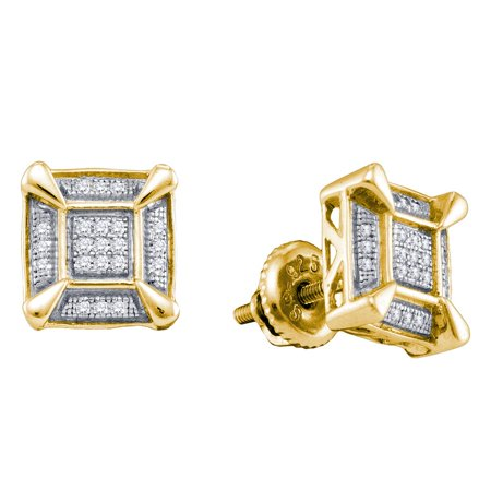 Silver Tone Cluster (Yellow-tone Sterling Silver Mens Round Diamond Square Cluster Stud Earrings 1/8)