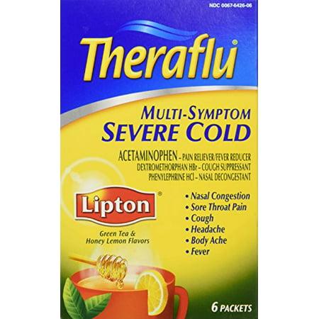 Theraflu Multi Symptom Severe Cold Green Tea Honey Lemon 6 Packets (Best Cold Green Tea)