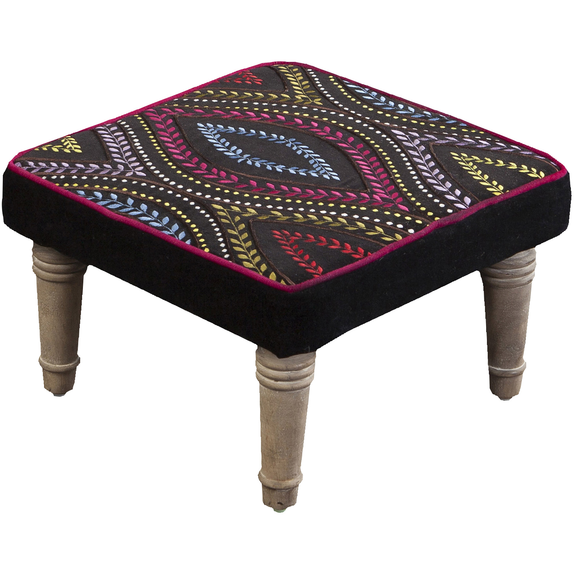 Art of Knot Meaux Velvet Black Ottoman
