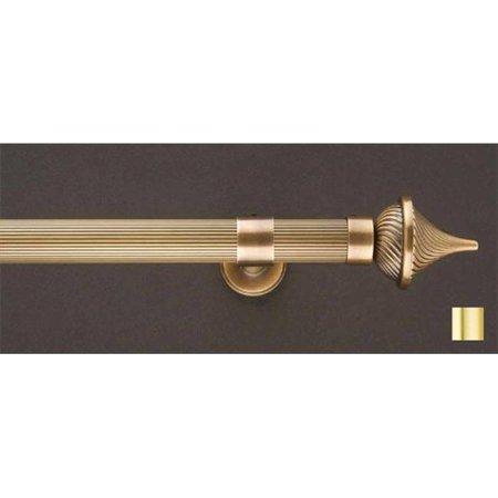 Brass Rod Set - Liber 1153 Curtain Rod Set -.75 in. - Matte Brass - 63 in.