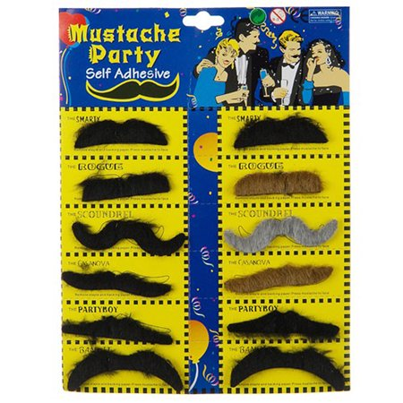 Fun Mustache 6 Types Variety Facial Hair Moustache Set Stick On Costume - Mustaches On A Stick