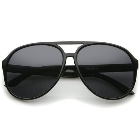 Retro Large Protective Polarized Lens Aviator Sunglasses 60mm (Black / Smoke Polarized) Retro Plastic Aviator Sunglasses