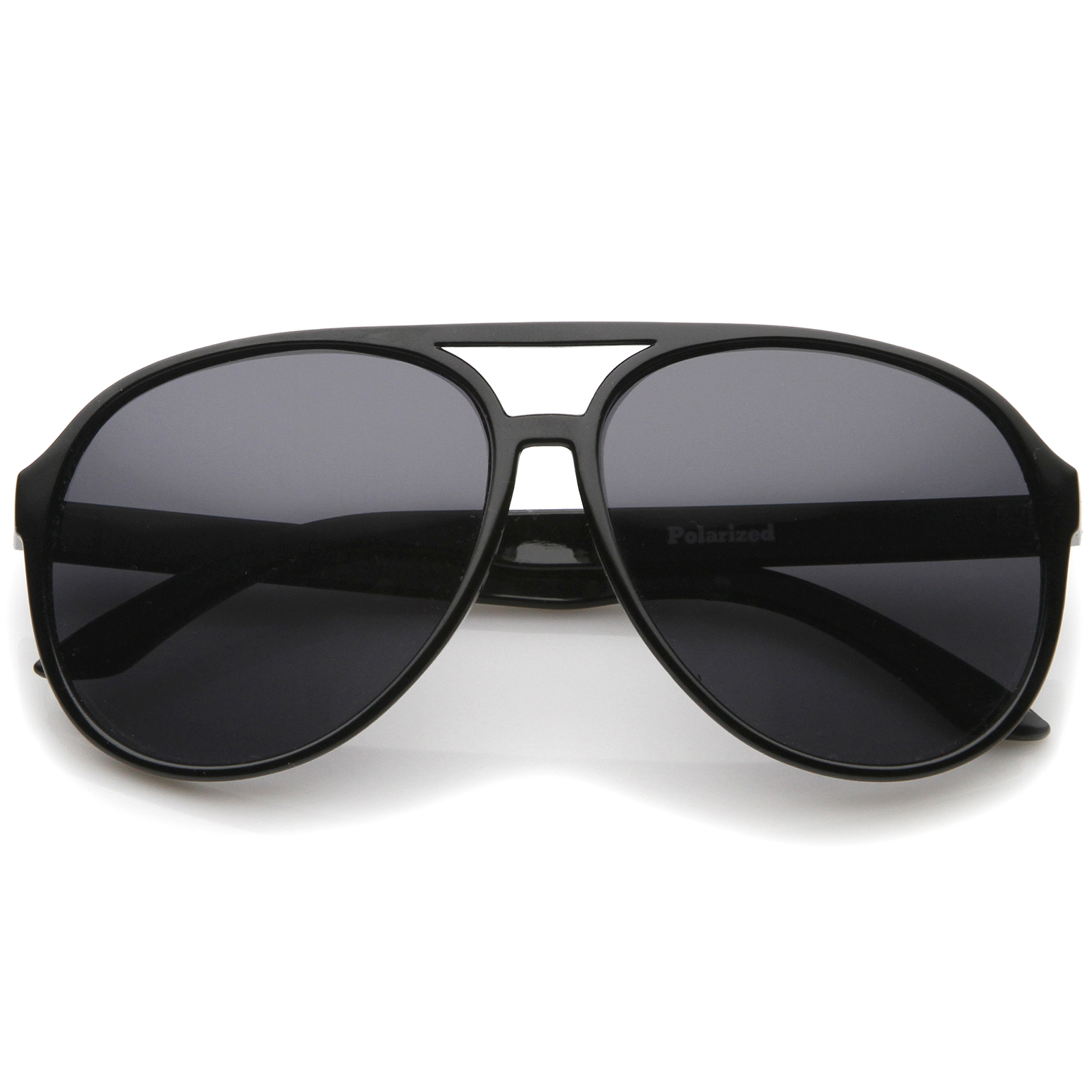 Retro Large Protective Polarized Lens Aviator Sunglasses 60mm (Black / Smoke Polarized)
