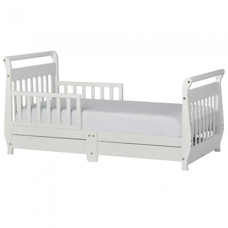 Dream On Me Sleigh Toddler Bed with Storage, White