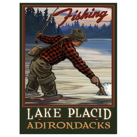 Fishing Lake Placid Adirondacks New York Evening Fly Fisherman Travel Art Print Poster by Paul A. Lanquist (9